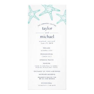 Aqua & Navy Starfish Wedding Ceremony Program Rack Card
