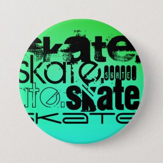 Aqua, Neon Green Gradient; Skate 7.5 Cm Round Badge