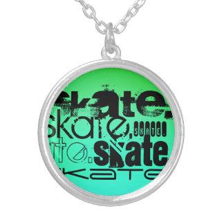 Aqua, Neon Green Gradient; Skate Round Pendant Necklace