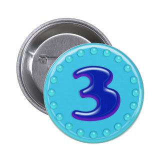 Aqua Number 3 Pinback Button