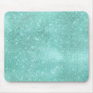 Aqua Ocean Blue Aquamarine Diamond Shiny Glam Mouse Pad
