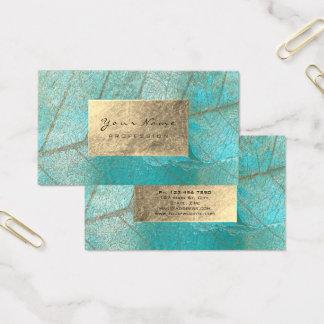 Aqua Ocean Blue Gold Foil Botanical Cement Grungy Business Card