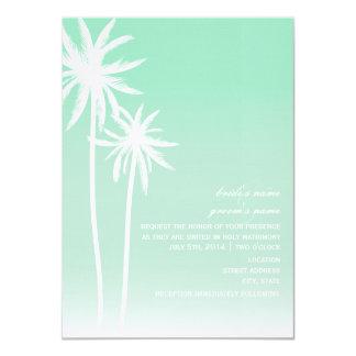 "Aqua Ombré  Palm Trees Beach Wedding Invitation 4.5"" X 6.25"" Invitation Card"