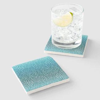 Aqua Ombre Zebra Print Stone Beverage Coaster