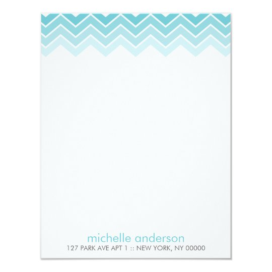 Aqua Ombre Zig Zag Chevron Pattern Note Cards