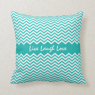 Aqua or teal chevron zigzag pattern custom pillow cushion