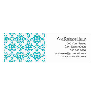 Aqua over White Damask Style Pattern Pack Of Skinny Business Cards