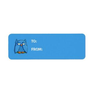 Aqua Owl aqua small Gift Tag Return Address Label