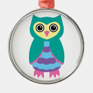 Aqua Owl Christmas Ornament
