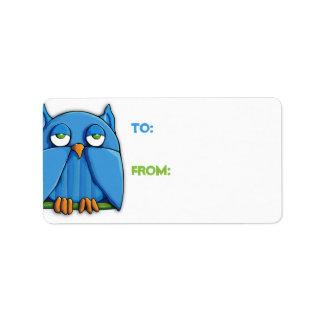 Aqua Owl Gift Tag Address Label