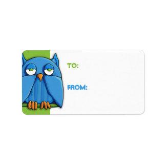 Aqua Owl green Gift Tag Address Label