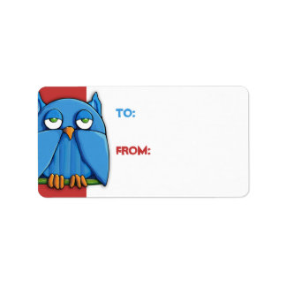 Aqua Owl red Gift Tag Address Label