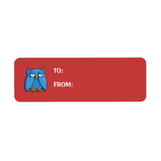 Aqua Owl red small Gift Tag Return Address Label