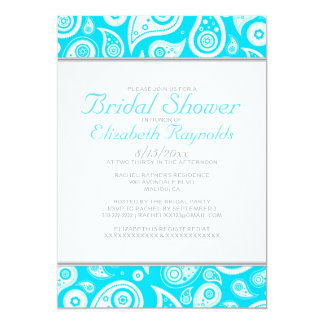 Aqua Paisley Bridal Shower Invitations