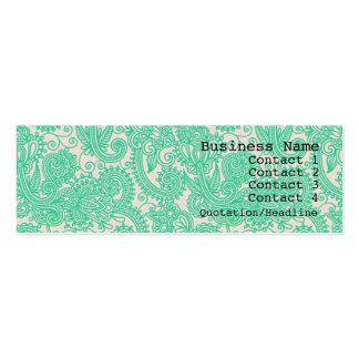 Aqua Paisley Pattern Modern Skinny Business Card
