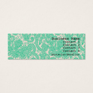 Aqua Paisley Pattern Modern Skinny Business Card