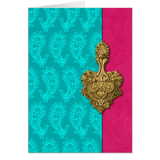 Aqua Paisley Peacocks Indian Note Cards