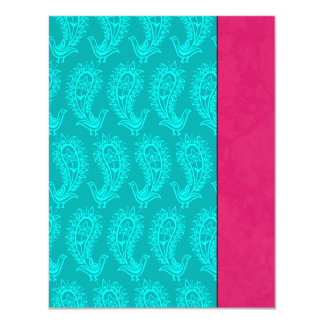 Aqua Paisley Peacocks Indian Wedding RSVP Card