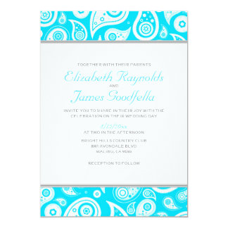 Aqua Paisley Wedding Invitations