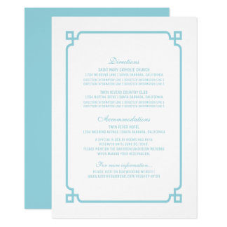 Aqua Paradise Deco Chic Wedding Info Card