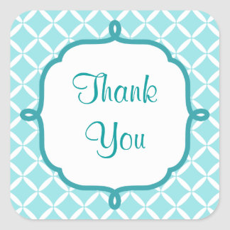 Aqua Pattern Thank You Stickers