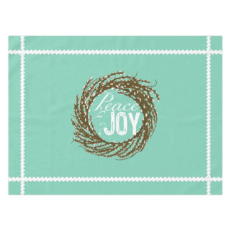 Aqua Peace and Joy Pussy Willow Wreath Tablecloth
