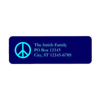 Aqua Peace Symbol Address Labels
