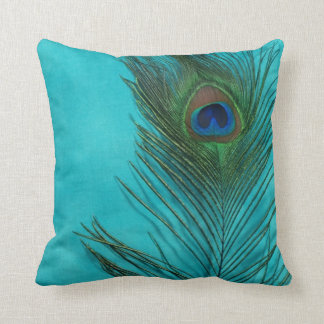 Aqua Peacock Feather Still Life Throw Pillow