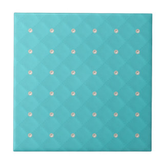 Aqua Pearl Stud Quilted Tile