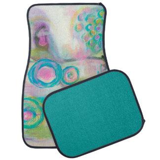 Aqua Pink, Abstract Circles Swirls Landscape Art Floor Mat