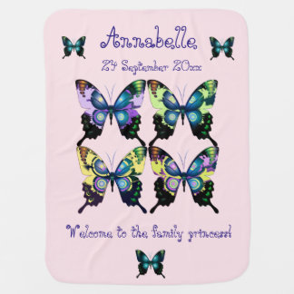 Aqua, Pink, and Yellow -  Elegant Butterflies Baby Blanket
