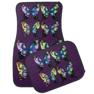 Aqua, Pink, and Yellow -  Elegant Butterflies Car Mat