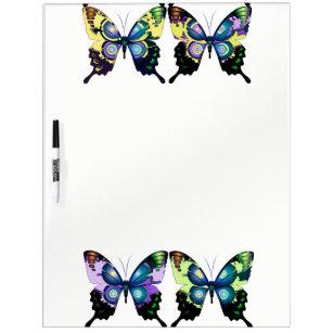 Aqua, Pink, and Yellow -  Elegant Butterflies Dry Erase Board