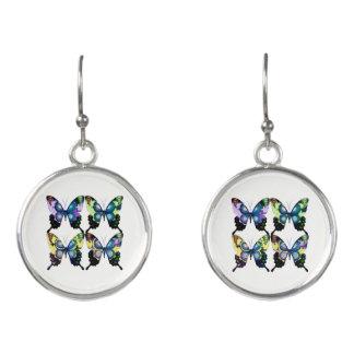 Aqua, Pink, and Yellow -  Elegant Butterflies Earrings
