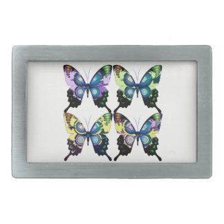 Aqua, Pink, and Yellow -  Elegant Butterflies Rectangular Belt Buckle