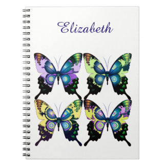 Aqua, Pink, and Yellow -  Elegant Butterflies Spiral Notebook