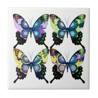 Aqua, Pink, and Yellow -  Elegant Butterflies Tile
