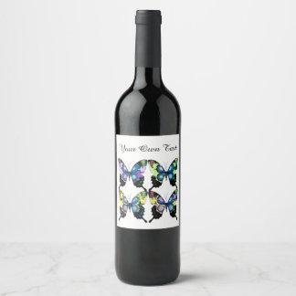 Aqua, Pink, and Yellow -  Elegant Butterflies Wine Label