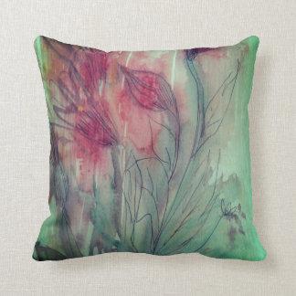 Aqua Pink Floral Water Colour Pillow