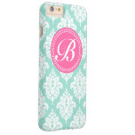Aqua & Pink French Damask Custom Monogram Barely There iPhone 6 Plus Case