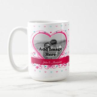 Aqua, Pink Heart pattern Monogram Photo template Basic White Mug