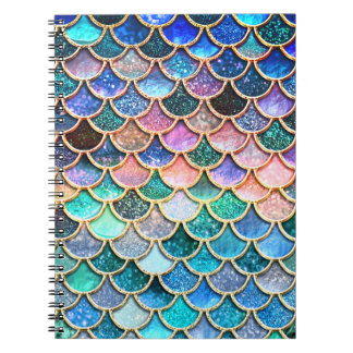 Aqua Pink Mermaid Glitter Scales- Mermaid Scales Notebook