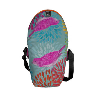 Aqua Pink  Modern Flower Vintage Bird Bag Commuter Bag