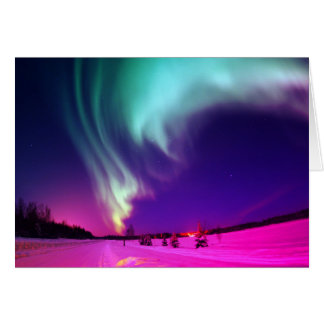 Aqua Pink Ombre Northern Lights Thinking of You Card