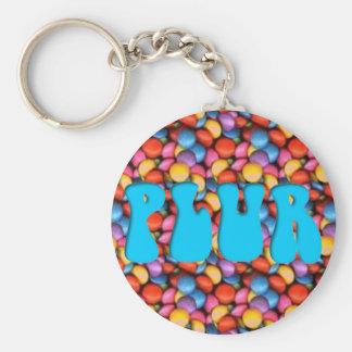 Aqua PLUR Candy Basic Round Button Key Ring