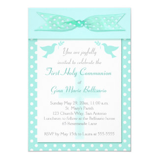 Aqua Polka Dot First Holy Communion Invitation