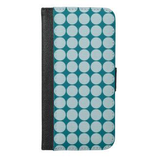 Aqua Polka Dots iPhone 6/6s Plus Wallet Case