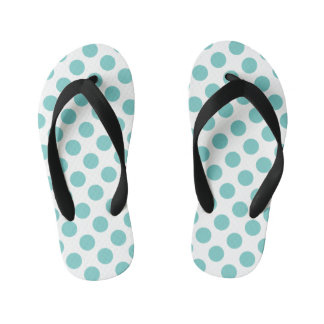 Aqua Polka Dots Kid's Thongs