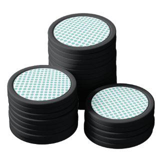 Aqua Polka Dots Poker Chips