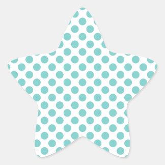 Aqua Polka Dots Star Sticker